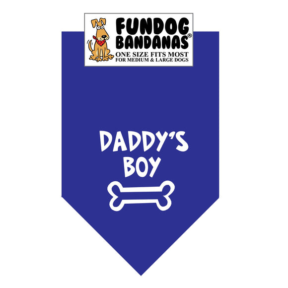 Royal Blue one size fits most dog bandana with Daddy's Boy and a bone in white ink.
