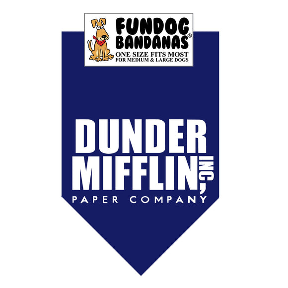 Navy Blue one size fits most dog bandana with Dunder Mifflin Paper Company in white ink.