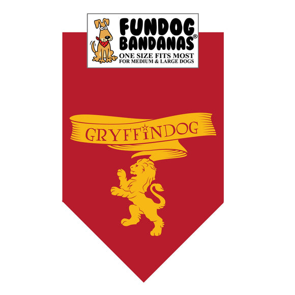Burgundy one size fits most dog bandana with Gryffindog and a griffin in gold ink.