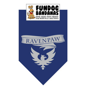 Navy Blue one size fits most dog bandana with Ravenpaw and a raven symbol in gray ink.