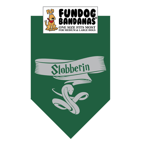 Forest Green one size fits most dog bandana with Slobberin and a snake in gray ink.