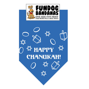 Mirage Blue one size fits most dog bandana with Happy Chanukah! and The Star of David and a Dreidel in white ink.