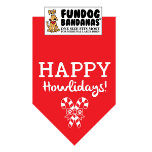 Wholesale 10 Pack - Happy Howlidays - Red and Green - FunDogBandanas