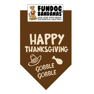Happy Thanksgiving Gobble Gobble Bandana - FunDogBandanas