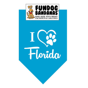 Turquoise one size fits most dog bandana with I Heart Florida and a paw within a heart in white ink.