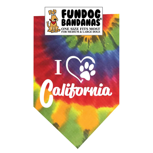 Brightly colored tie dye one size fits most dog bandana with I Heart California and a paw within a heart in white ink.