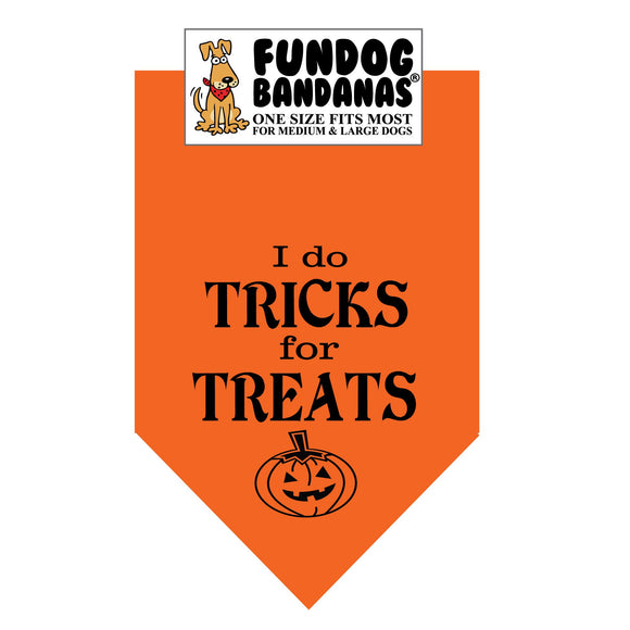 Orange one size fits most dog bandana with I Do Tricks for Treats and a jack o' latern in black ink.