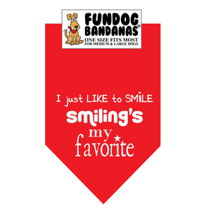 Wholesale 10 Pack - I just LIKE to SMilE Smiling's my favorite - Red and Green - FunDogBandanas