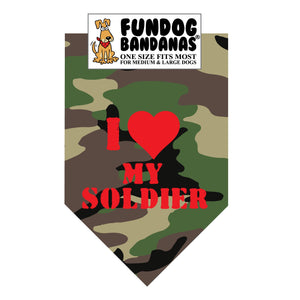 Green camouflage one size fits most dog bandana with I Love my Soldier and a red heart in red ink.