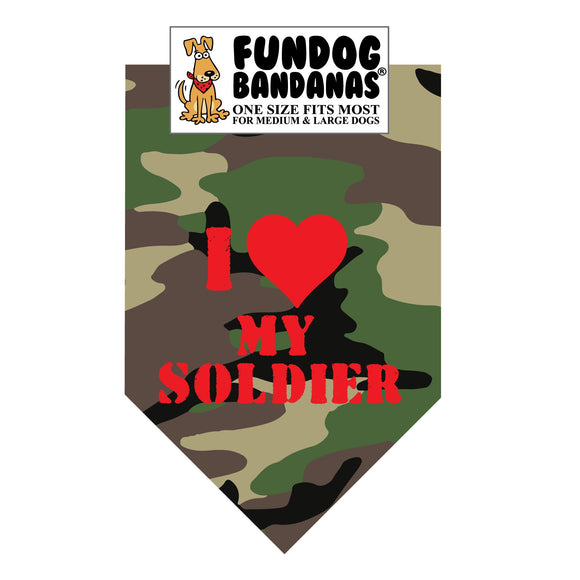 Wholesale 10 Pack - I Love My Soldier Bandana - Green Camo Only - FunDogBandanas