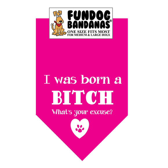 Wholesale 10 Pack - I was Born a Bitch; What's your excuse? Bandana - Assorted Colors - FunDogBandanas
