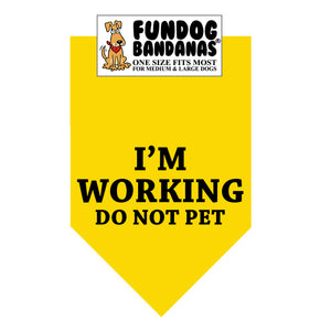 Gold one size fits most dog bandana with I'm Working Do Not Pet in black ink.