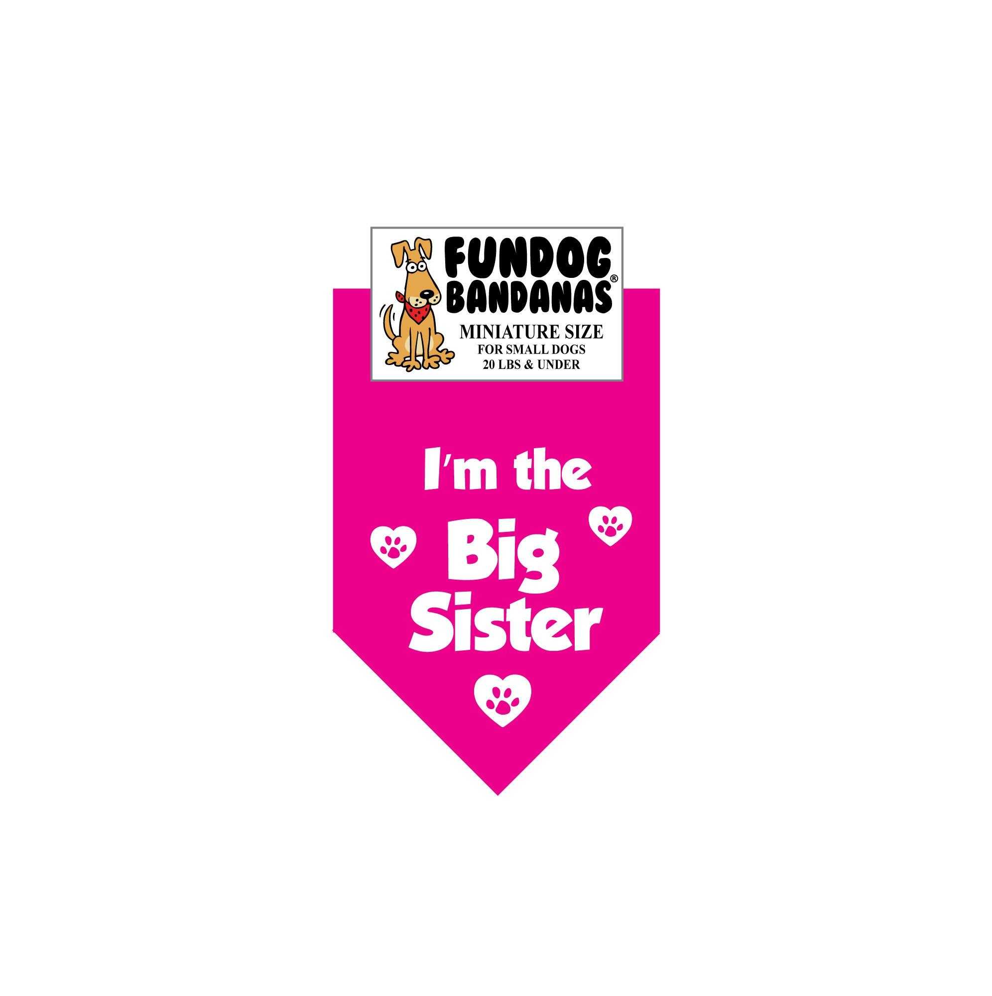 f4624c2d26d ... Hot Pink miniature dog bandana with I m The Big Sister and paws with  hearts ...