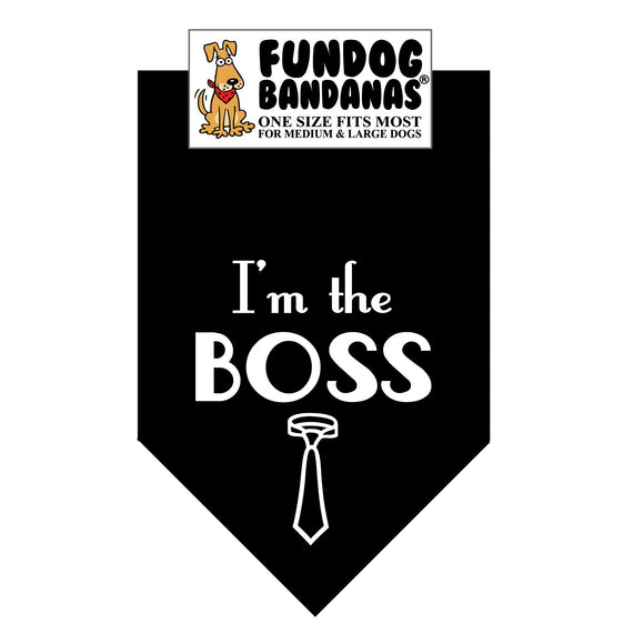 Wholesale 10 Pack - I'm the Boss Bandana - Assorted Colors - FunDogBandanas