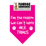 Hot Pink one size fits most dog bandana with I'm The Reason We Can't Have Nice Things and 2 paws in white ink.