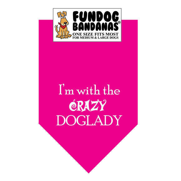 Wholesale 10 Pack - I'm with the CRAZY DOGLADY Bandana - Assorted Colors - FunDogBandanas