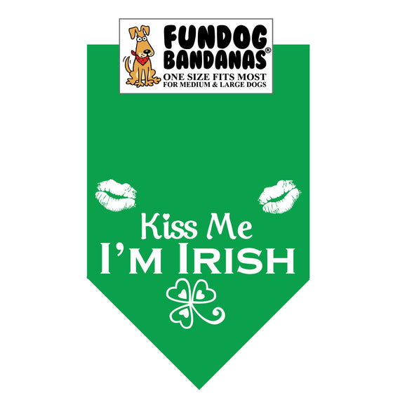 Kelly Green one size fits most dog bandana with Kiss Me I'm Irish and a shamrock and lips in white ink.