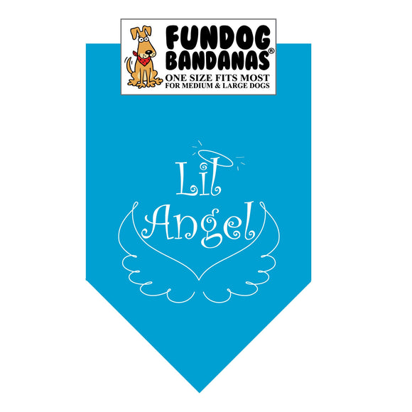 Turquoise one size fits most dog bandana with Lil Angel, a halo and wings in white ink.
