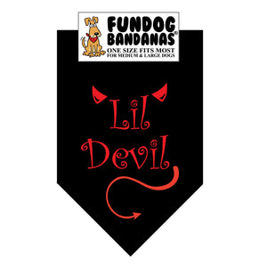 Black one size fits most dog bandana with Lil Devil, horns and a tail in red ink.