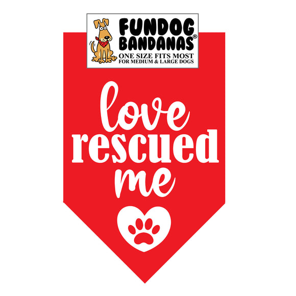 Wholesale 10 Pack - Love Rescued Me Bandana - red only