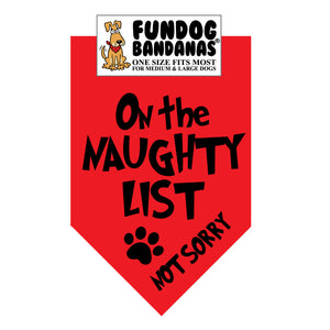 Wholesale 10 Pack - On the Naughty List-  Not Sorry Bandana