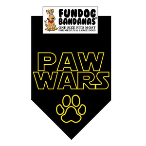 Black one size fits most dog bandana with Paw Wars and a paw in gold ink.