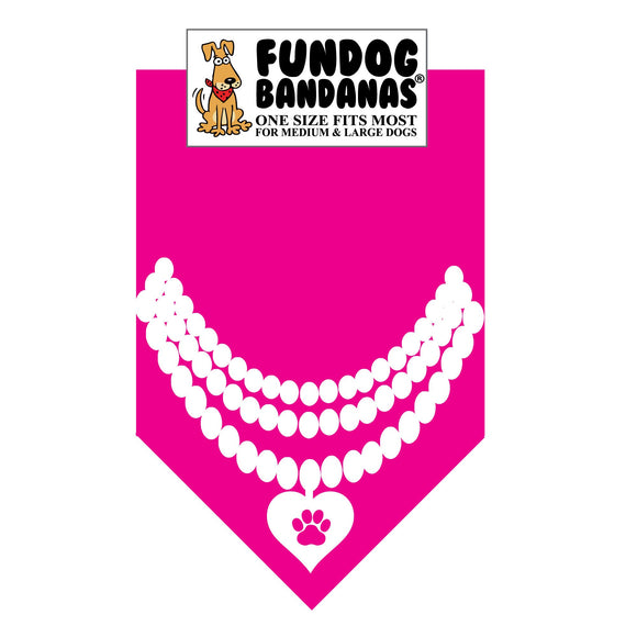 Hot Pink one size fits most dog bandana with a pearl necklace with a heart in white ink.