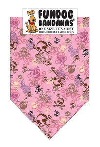 Light Pink one size fits most dog bandana with brown, purple and pink skulls.