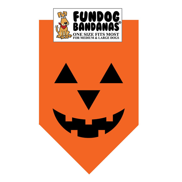 Orange one size fits most dog bandana with a smiling jack o' lantern face in black ink.