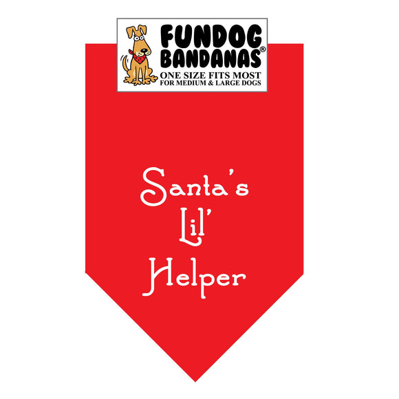 Red one size fits most dog bandana with Santa's Lil Helper in white ink.