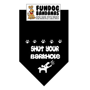Wholesale 10 Pack - Shut Your Barkhole Bandana - Assorted Colors - FunDogBandanas