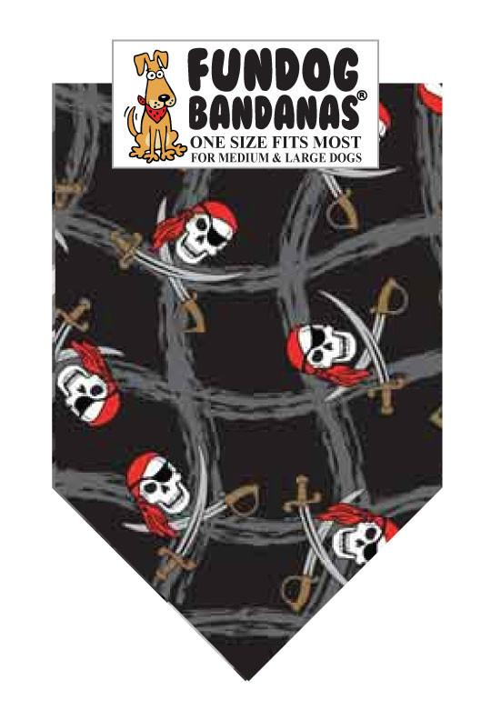 Black one size fits most dog bandana with pirate skulls on it.