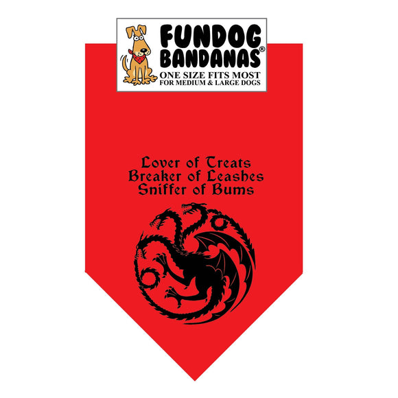GT Lover of Treats Bandana (TARGARYEN) - FunDogBandanas