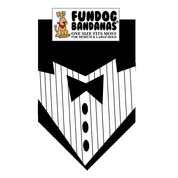 Wholesale 10 Pack - Tuxedo with Black Tie Bandana - Black Only - FunDogBandanas