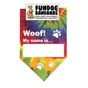 Wholesale 10 Pack - Woof! My name is...(nametag) Bandana - Assorted Colors - FunDogBandanas