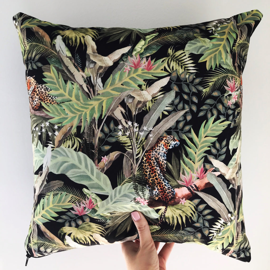 tropical leopard cushion