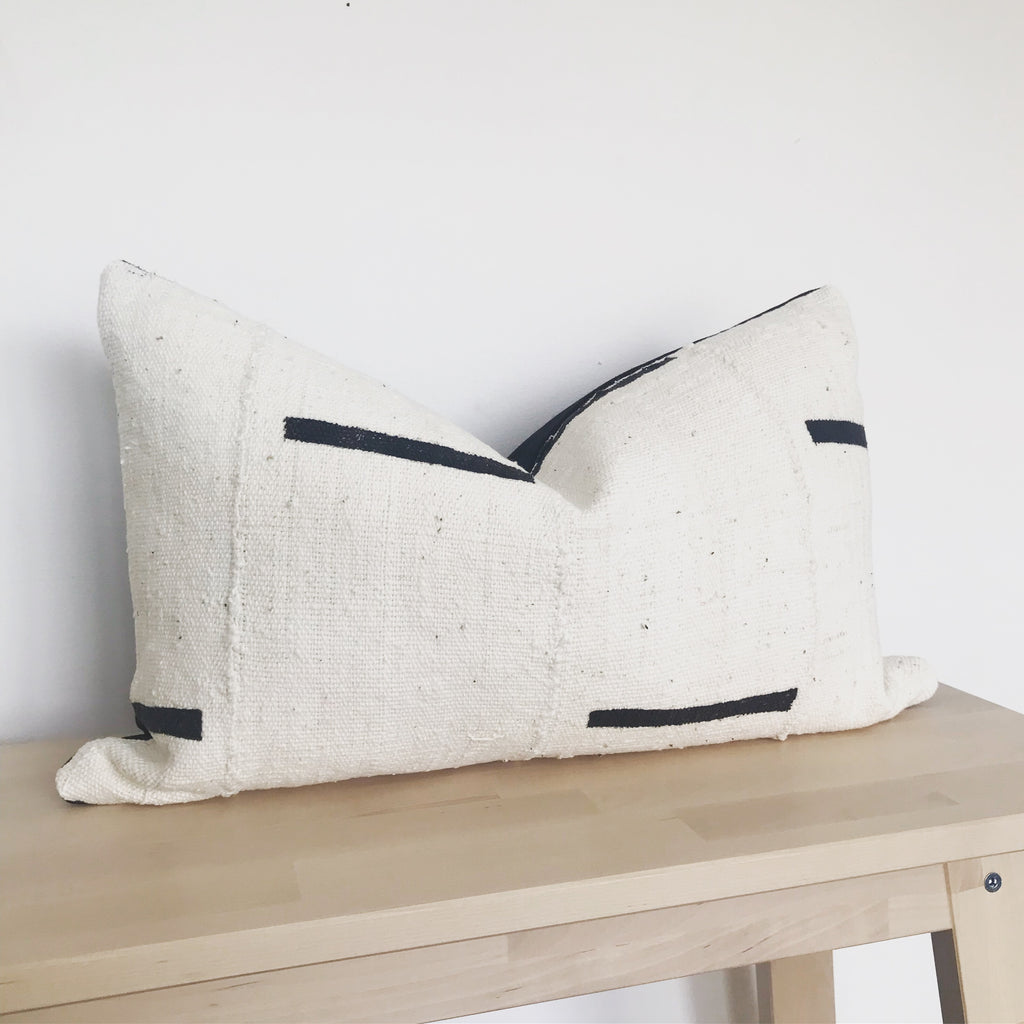 Rectangle lumbar african mudcloth cushion