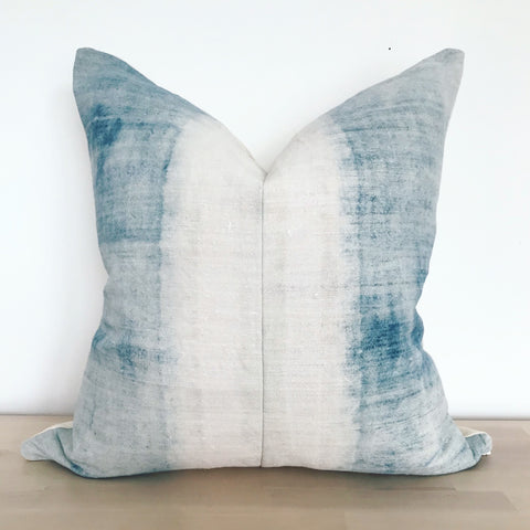 Handwoven dyed indigo hemp cushion
