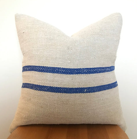 Hungarian Grain Sack Cushion | Blue Stripe