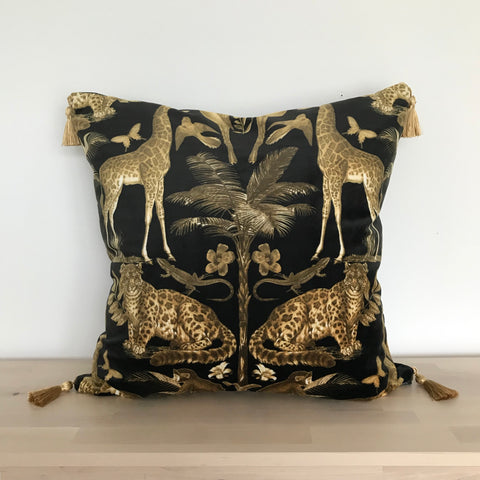Luxury Black and Gold Wild Sahara Velvet Cushion with Tassels