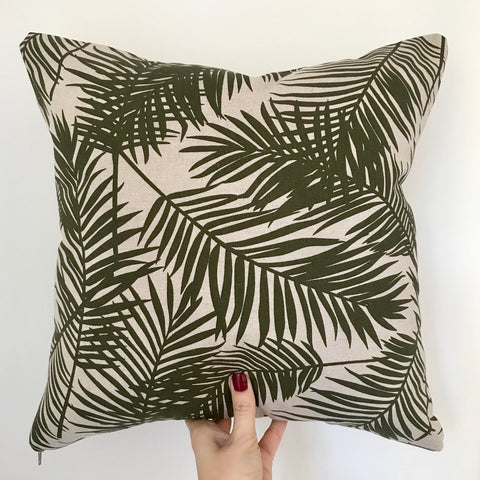Rainforest Palm Print Cushion | Olive Green and Beige