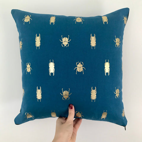 Gold bugs insects cushion | Blue