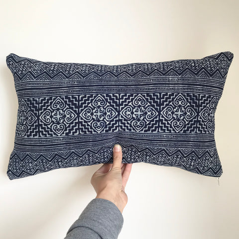 'Luna' Indigo Blue and White Batik Rectangle Cushion Cover