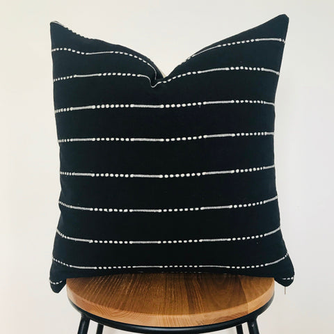 'Maia' Boho Chiang Mai Cushion | Woven cotton | Black and Beige