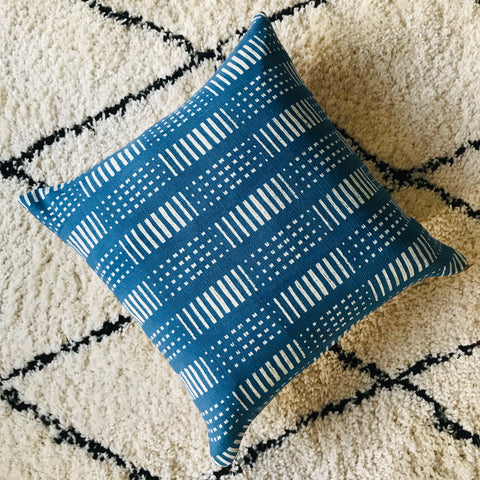 Boho Chiang Mai Cushion | Batik Print | Blue and Beige