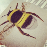 Bumble Bee Cushion | Beige Cotton Linen