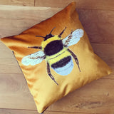 Gold bumble bee cushion | Velvet Chenille