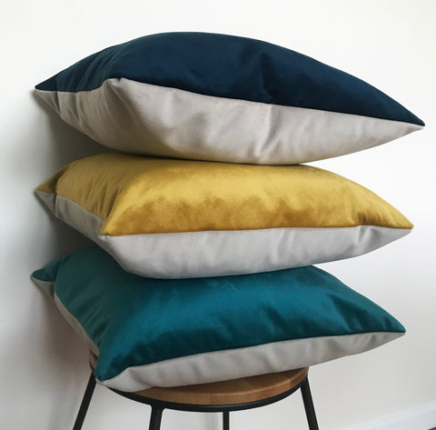 Marine Blue, Teal and Mustard Velvet Cushions