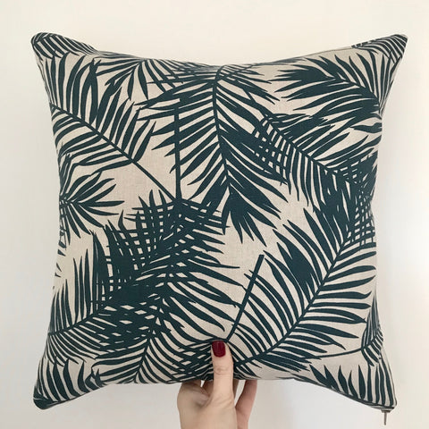 Rainforest Palm Print Cushion | Navy blue and beige