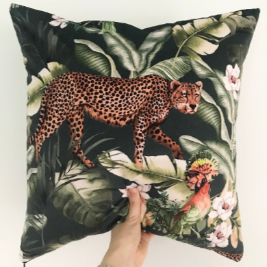 Leopard Jungle Print Cushion | Velvet Pillow